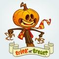 Cartoon Jack-o-lantern. Halloween vector illustration. Postcard or poster for party.