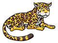Cartoon jaguar cat an illustration of a happy cute Stock Image