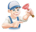 Cartoon janitor or plumber holding a rubber plunger and pointing Royalty Free Stock Images