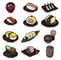 Cartoon Japanese food icon set Royalty Free Stock Photo