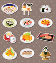 Cartoon Japanese food stickers Royalty Free Stock Image