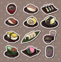 Cartoon Japanese food stickers Royalty Free Stock Images