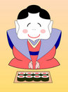 Cartoon japanese geisha with sushi Stock Photo