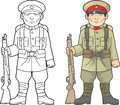 Japanese soldier, world war one, coloring book Royalty Free Stock Photo