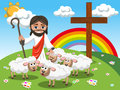 Cartoon Jesus holding stick stroking sheep meadow Royalty Free Stock Photo
