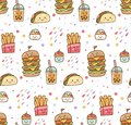 Cartoon junk food kawaii seamless pattern