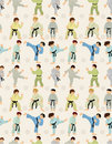 Cartoon Karate Player seamless pattern Royalty Free Stock Photos