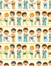 Cartoon Karate Player seamless pattern Stock Photography