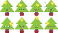Cartoon kawaii christmas tree set of super cute style trees with different expressions Royalty Free Stock Images