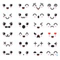 Cartoon kawaii eyes and mouths. Cute emoticon emoji characters in japanese style Royalty Free Stock Photo