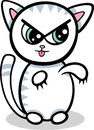 Cartoon kawaii kitten illustration of style cute angry cat or Stock Image