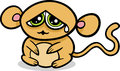 Cartoon kawaii sad monkey illustration of style cute Stock Image