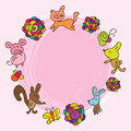 Cartoon kid flower pink flower card illustration like a draw color colorful graphic cute cat pig fox mouse butterfly bear Stock Images