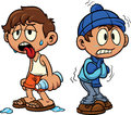 Cartoon kid in hot and cold weather Royalty Free Stock Photo