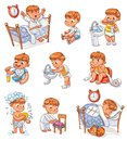 Cartoon kid daily routine activities set Royalty Free Stock Photo
