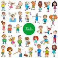 Cartoon kids characters large set Royalty Free Stock Photo