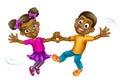 Cartoon Kids Dancing Royalty Free Stock Photo