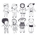 Cartoon kids in different traditional costumes children black white sketch set Stock Images