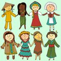 Cartoon kids in different traditional costumes children vector set Royalty Free Stock Photo