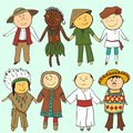 Cartoon kids in different traditional costumes children vector set Stock Photo