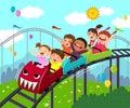 Cartoon of kids having fun on roller coaster in an amusement park Royalty Free Stock Photo