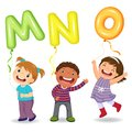 Cartoon kids holding letter MNO shaped balloons