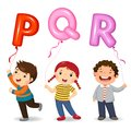 Cartoon kids holding letter PQR shaped balloons