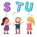 Cartoon kids holding letter STU shaped balloons