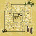 Cartoon kids maze in dinosaur world. Labyrinth of dino way. Help researcher find path to gate. Childrens home game Royalty Free Stock Photo