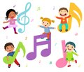 Cartoon kids with music notes
