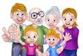 Cartoon Kids Parents and Grandparents