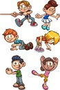 Cartoon kids performing different actions Royalty Free Stock Photo