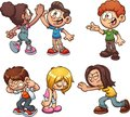 Cartoon kids performing different actions