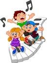 Cartoon Kids And Piano Illustr...