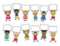 Cartoon kids with placards in their hands bright clothes Stock Image