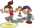 Cartoon kids playing hopscotch