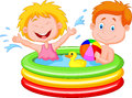 Cartoon kids playing in an inflatable pool illustration of Stock Image