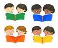 Cartoon kids reading book vector Royalty Free Stock Photo