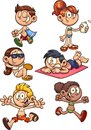 Cartoon kids ready for summer Royalty Free Stock Photo