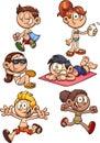 Cartoon kids ready for summer