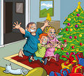 Cartoon kids running toward christmas tree Royalty Free Stock Photography