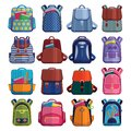 Cartoon kids school bags backpack Back to School rucksack vector set illustration  on white Royalty Free Stock Photo