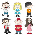 Cartoon kids on white vector set background Stock Photos
