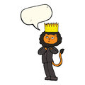 cartoon king of the beasts with speech bubble Royalty Free Stock Photo