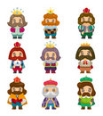 Cartoon king icons set Royalty Free Stock Photography