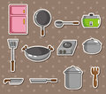 Cartoon kitchen stickers Stock Image