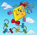 Cartoon kite on blue sky Royalty Free Stock Images