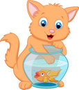 Cartoon kitten fishing for gold fish in an aquarium bowl illustration of Stock Images
