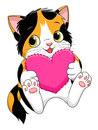 Cartoon kitten with heart