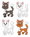 Cartoon kittens collection illustration cute ginger brown and white cats isolated on a white background Royalty Free Stock Photography
